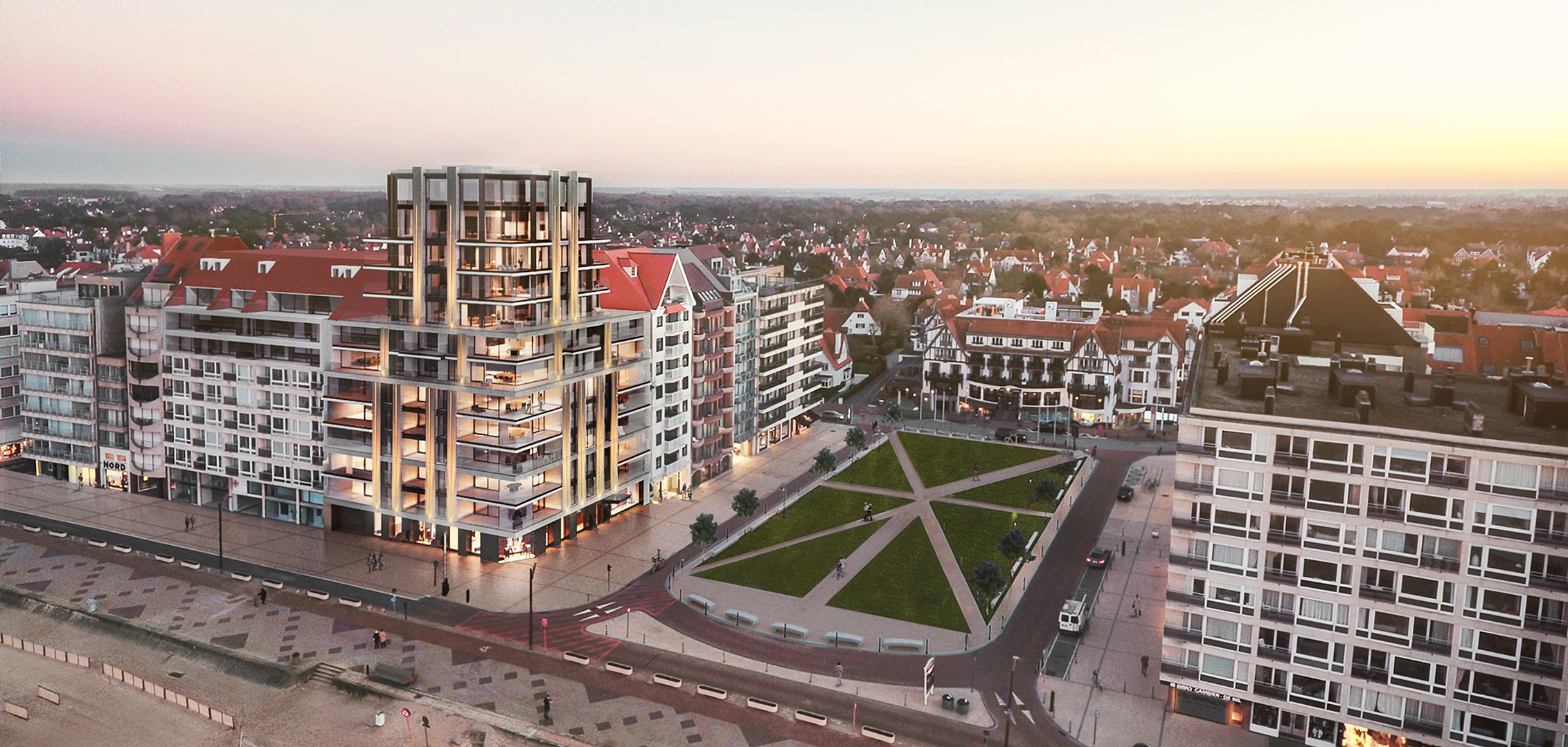 location of one carlton with views on the beach of Knokke Zoute
